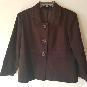 Chocolate brown wool blend blazer, NWT